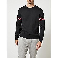 Burton - Black inserted rib crew neck sweatshirt