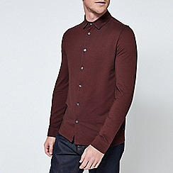 burton burgundy long sleeve two tone pique shirt