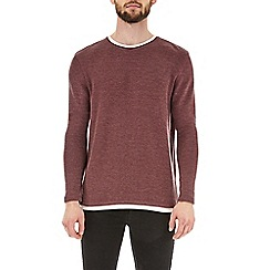 Burton - Burgundy textured mock-layered t-shirt