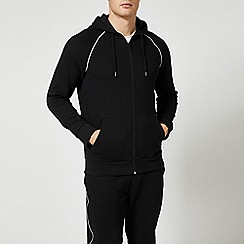 Burton - Black piped zip through hoodie