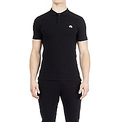 HIIT - Black muscle fit stretch polo shirt