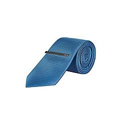 Burton - 1904 blue textured tie and clip set
