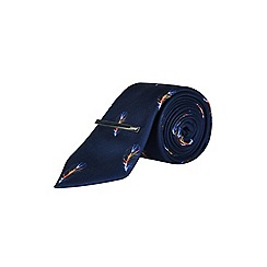 Burton - 1904 navy blue feather print tie, pocket square and clip set