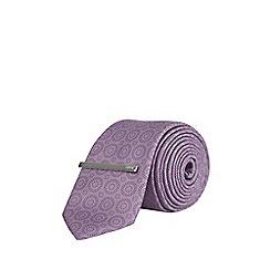 Burton - Purple geometric print tie with pocket square