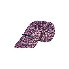 Burton - 1904 purple geometric print tie, pocket square and clip set