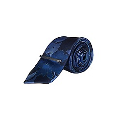 Burton - 1904 navy floral print tie, pocket square and clip set