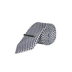 Burton - 1904 navy mini geometric print tie and clip set