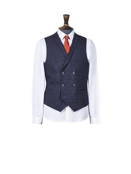 blue fit 1904 check windowpane waistcoat Burton slim aqZ5gg