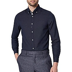 Burton - 1904 'Hadleigh' slim fit navy formal dobby shirt