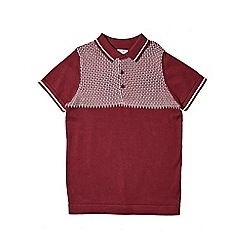Outfit Kids - Boys' burgundy short sleeve knitted polo shirt