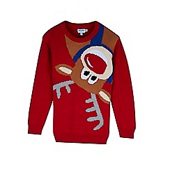 Outfit Kids - Boys' red reindeer Christmas jumper