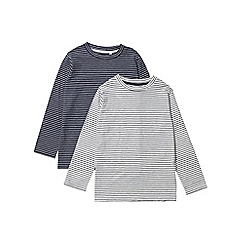 Outfit Kids - 2 pack boys' navy and white long sleeve striped t-shirts