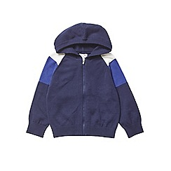 Outfit Kids - Boys' navy panelled zip knitted hoodie