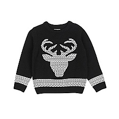 Outfit Kids - Boys' black stag Christmas jumper