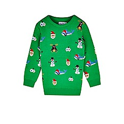 Outfit Kids - Boys' green pixelated Christmas jumper