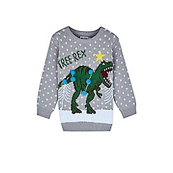 Outfit Kids - Boys' grey tree rex Christmas jumper
