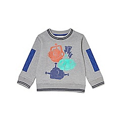Outfit Kids - Boys' grey long sleeve robot design sweatshirt