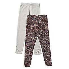 Outfit Kids - 2 pack girls' grey and navy floral print leggings