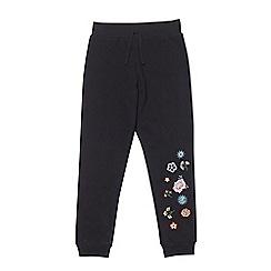 Outfit Kids - Girls' black embroidered floral jogging bottoms