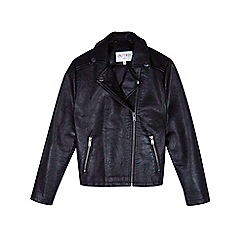 Outfit Kids - Girls' black pu biker jacket