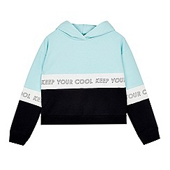 Outfit Kids - Girls Aqua Green Panel Cropped Sports Hoodie