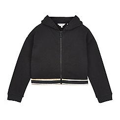 Outfit Kids - Girls Black Zip Through Rainbow Hoodie