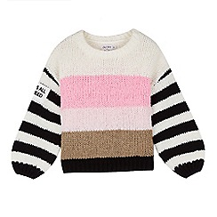 Outfit Kids - Girls' White Stripe Knitted Jumper