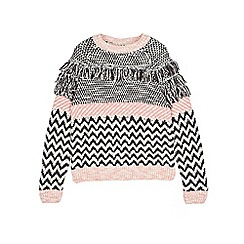 Outfit Kids - Girls' black fringe pattern jumper