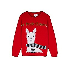 Outfit Kids - Girls' red eyelash knitted llama jumper