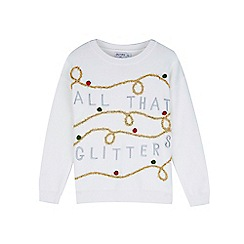 Outfit Kids - Girls' white Christmas jumper