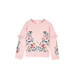 Outfit Kids - Girls' pink floral embroidery ruffle sweat top