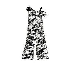 Outfit Kids - Girls' grey zebra striped jumpsuit