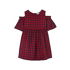 Outfit Kids - Girls' red checked cold shoulder dress