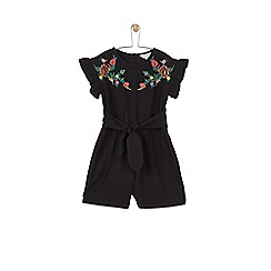 Outfit Kids - Girls' black embroidered playsuit