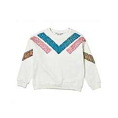Outfit Kids - Girls' cream sequin sweatshirt
