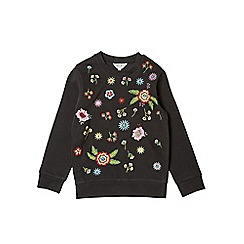 Outfit Kids - Girls' black floral embroidered sweatshirt