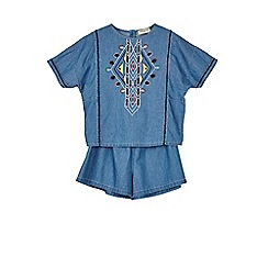 Outfit Kids - Girls' blue embroidered top and shorts set