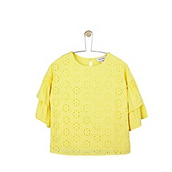 Outfit Kids - Girls' yellow woven top with broderie sleeve