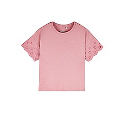 Outfit Kids - Girls' pink broiderie sleeve t-shirt