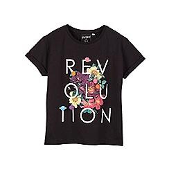Outfit Kids - Girls' black 'revolution' slogan t-shirt