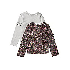 Outfit Kids - 2 pack girls' multi-coloured floral frill tops