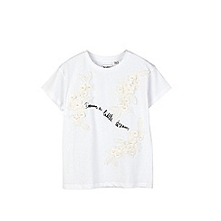 Outfit Kids - Girls' white slogan tee with flowers