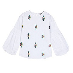 Outfit Kids - Girls' White Woven Embroidered Top