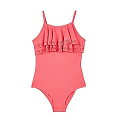 Outfit Kids - Girls' Red Textured Frill Swimsuit