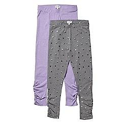 Outfit Kids - 2 pack girls' grey metallic spot print leggings