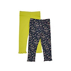 Outfit Kids - 2 pack girls' green and navy leggings