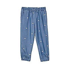 Outfit Kids - Girls' blue chambray embroidered trousers