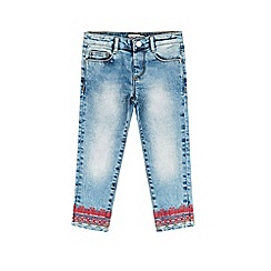 Outfit Kids - Girls' blue embroidered straight leg jeans