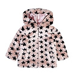 Outfit Kids - Girls' pink star faux fur coat