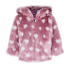 Outfit Kids - Girls' pink heart faux fur jacket